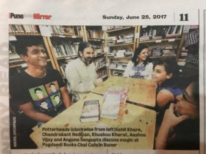 Harry Potter Fans discussing their favorite characters in Pagdandi Books Chai Cafe featured in Pune Mirror on Sunday 25th June 2017
