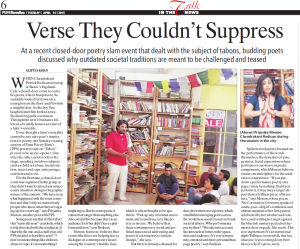 Taboo Poetry Performance featured in Pune Newsline of The Indian Express on 14th April 2015, Page 6