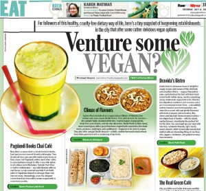 Vegan Options at Pagdandi featured in Pune Mirror, Saturday 11th July 2015, Page 19